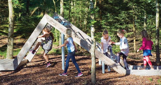 Danish girls on climbing equipment