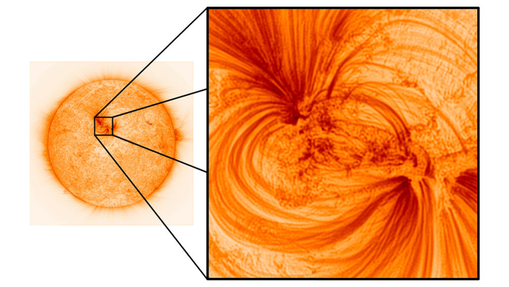 close-up of the plasma filaments on the sun