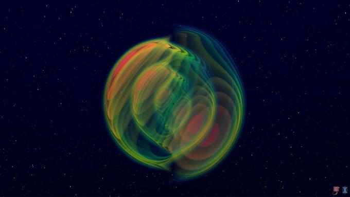 illustration of unequal-sized black holes