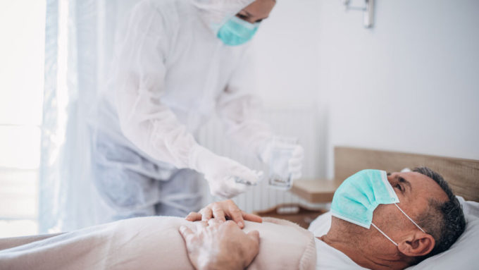 Male patient in a hospital
