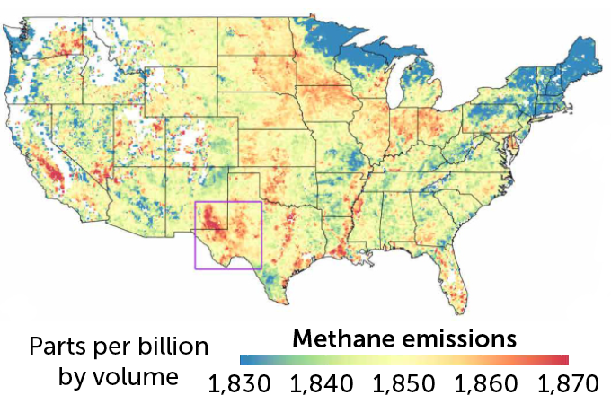 Satellite estimates of U.S. methane emissions