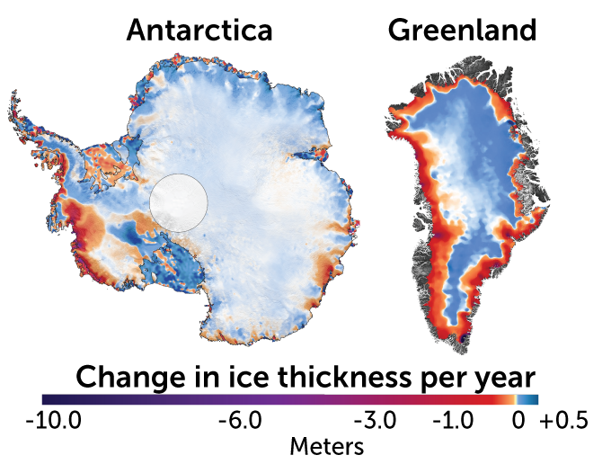 Ice sheet changes in Greenland map