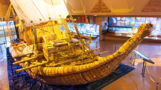 a photo of a papyrus boat