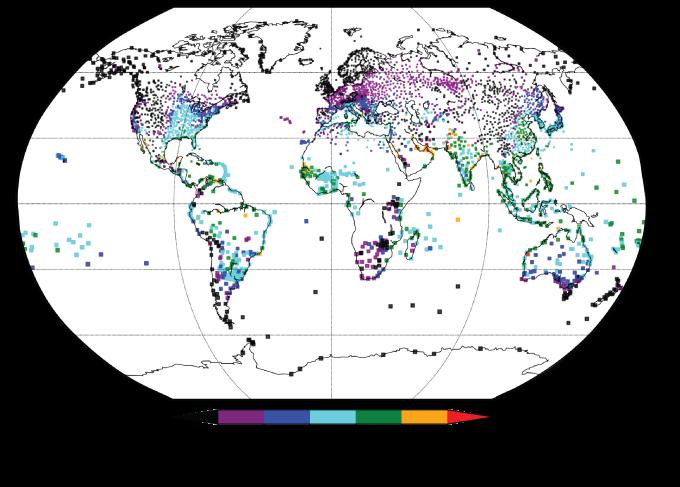 Maximum humid heat measurements, 1979–2017