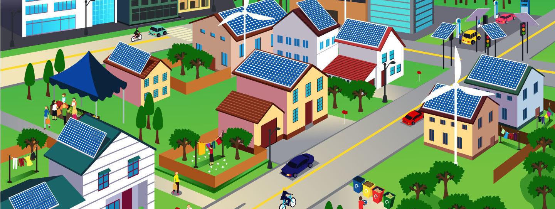 illustration of an eco-friendly neighborhood
