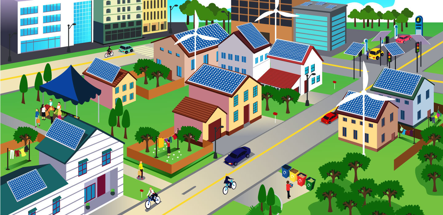 illustration of an eco-friendly neighborhood