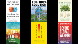 covers of six books about climate change