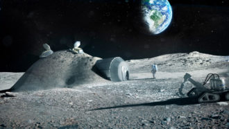 illustration of astronaut standing outside a lunar base