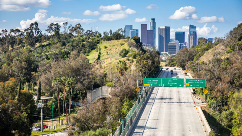 aerial photo of a freeway in Los Angeles