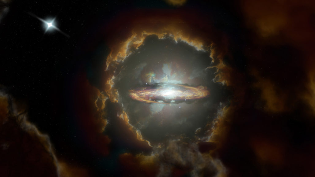 artist's illustration of a spiral galaxy called the Wolfe Disk