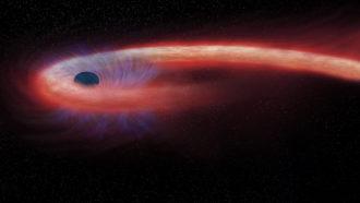 Black hole ripping star apart illustration