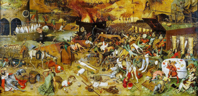 16th century painting of a grim scene of death