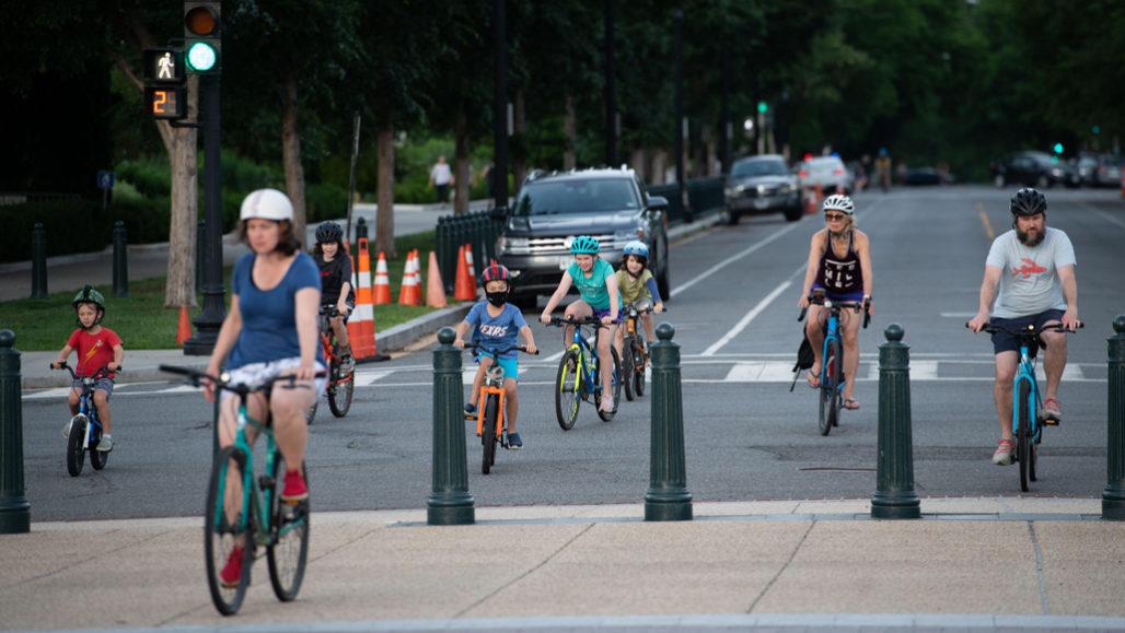 Kids riding bikes in DC