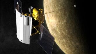 MESSENGER spacecraft orbiting Mercury