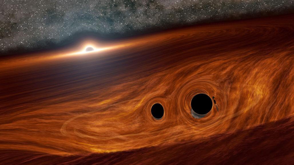 Black hole light collision illustration