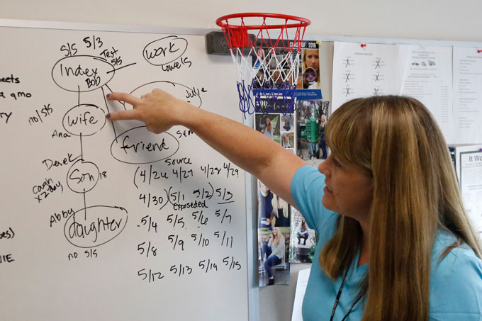 Public health nurse standing at and pointing at a white board