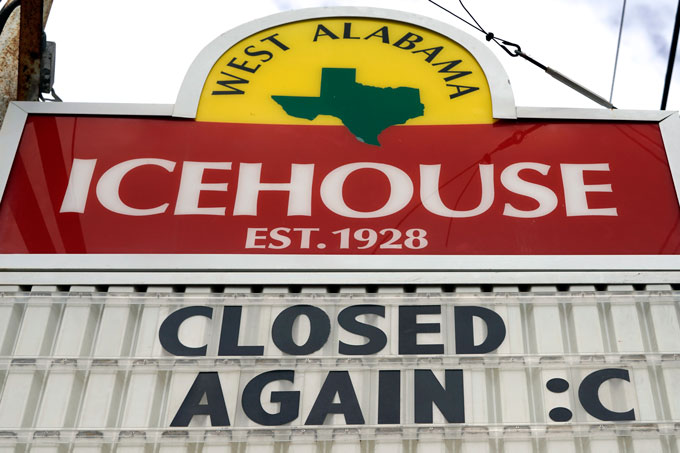 "Bar sign that says ""Closed Again :("""