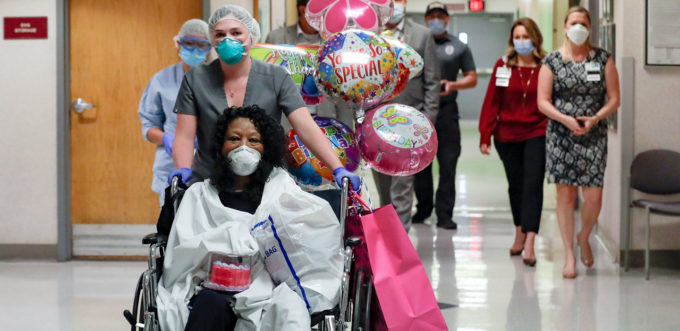 Janice Brown being released from a hospital in California