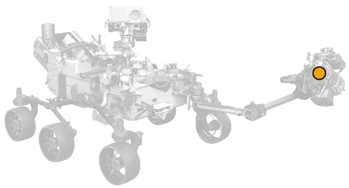 icon of Perseverance rover with dot on instrument location
