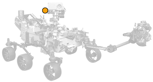 icon of Perseverance rover with dot on Mastcam-Z location