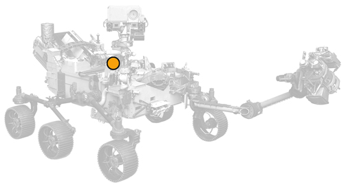 icon of Perseverance rover with dot on MEDA location