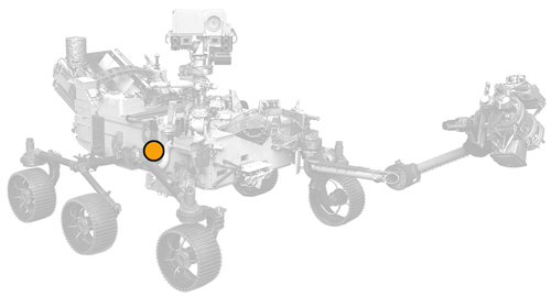 icon of Perseverance rover with dot on MOXIE location