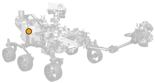 icon of Perseverance rover with dot on Rimfax location