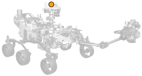 icon of Perseverance rover with dot on SuperCam location