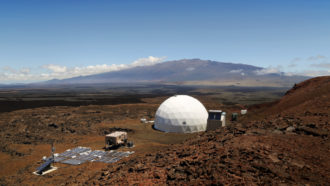 aerial photo of a dome on Mauna Loa