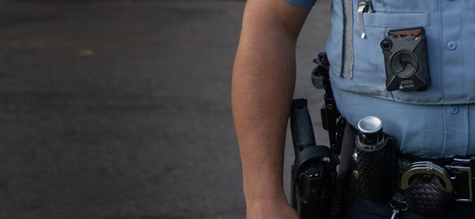 Minneapolis police officer wearing body camera