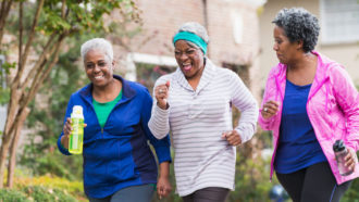 Three women running
