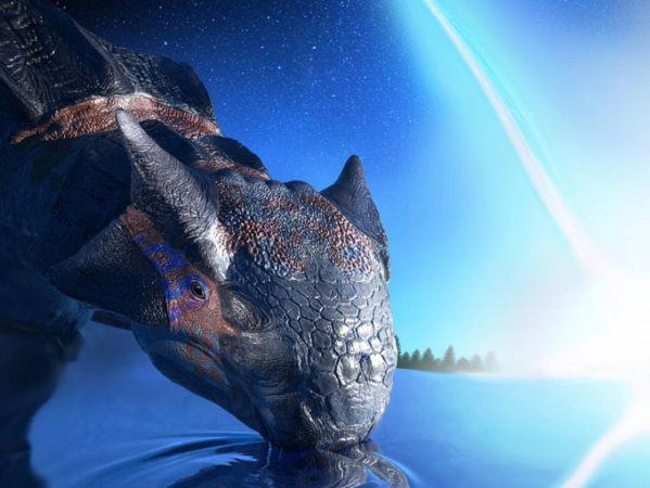 Ankylosaurus with asteroid impact in background