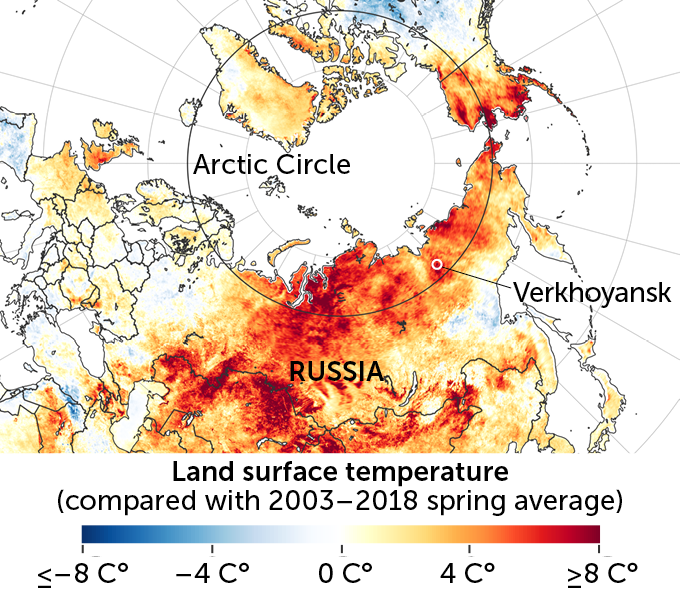 Temperatures in Siberia, March 19–June 2020 compared with spring averages 2003–2018