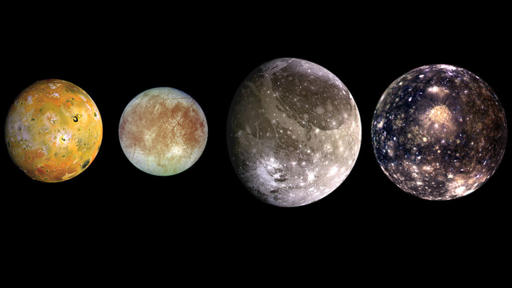Photos of the four largest moons of Jupiter