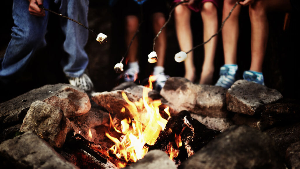 kids holding marshmallows over a campfire