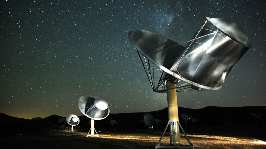 satellite dishes of the allen telescope array