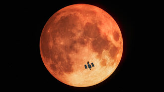 Hubble Space Telescope during total lunar eclipse