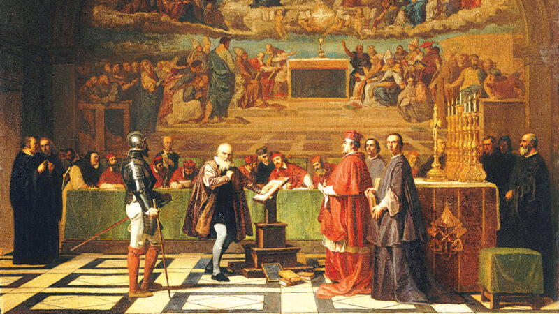 Painting of Galileo's trial
