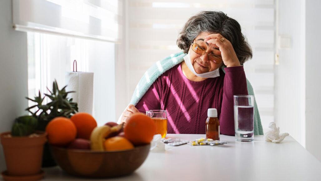 Sick woman at home