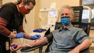 man donating COVID-19 plasma