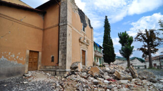 earthquake damage in L'Aquila, Italy