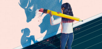 an illustration of a girl erasing a scary shadow looming over a sitting girl