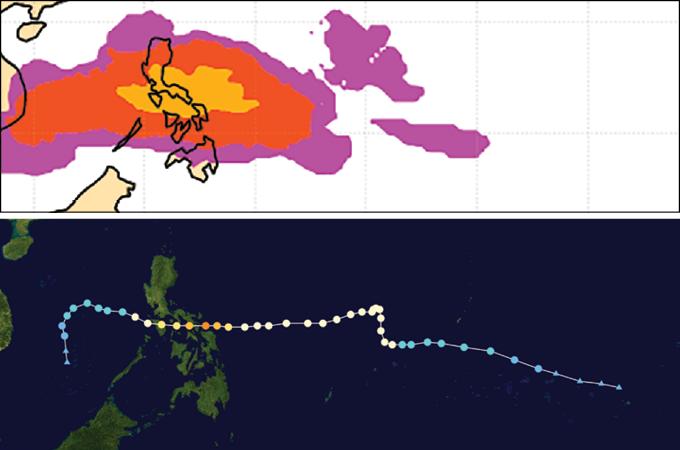 Forecast vs. path of Typhoon Kammuri