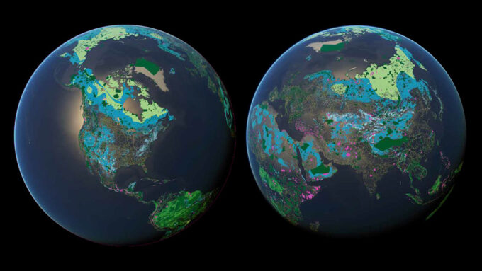 map of Earth's protected areas