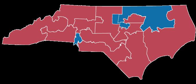 2016 and 2018 map of North Carolina