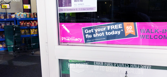 flue shot sign