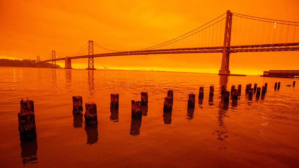 San Francisco Bay bridge smoky skyline