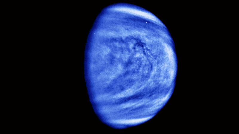 Partial image of Venus, which appears blue and swirly