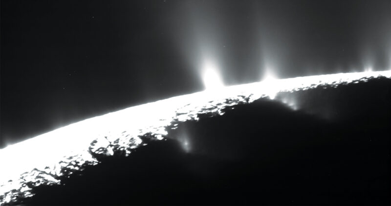 plumes of water vapor seen above Enceladus