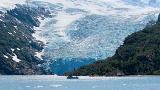 picture of a ship in front of the Blackstone glacier